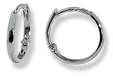 18k White Gold Classic Round Huggie Tiny Hoop Earrings 14mm