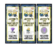 Personalized DESPICABLE ME MINION Birthday Party scratch off tickets PARTY GAME