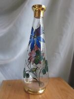 """Wine decanter clear stained glass hand painted flowers gold gilt trim 11.5"""" tall"""
