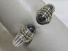 Designer Lagos S/S 18K Hematite Cuff Bangle Bracelet