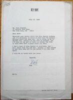BOB HOPE: 1985 TLS Autograph/Signed Letter on Personal Letterhead/Stationery
