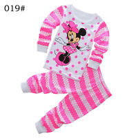 Minnie Mouse Girls Pajamas Baby Clothes Kids Sleepwear Nightwear Size 2T-7T