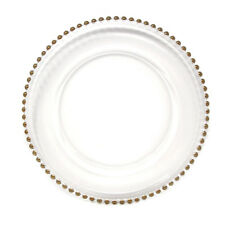 Glass Charger Plate Beaded Edge, Gold, 12-Inch