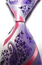 New Paisleys Stripes Purple Pink JACQUARD WOVEN 100% Silk Men's Tie Necktie