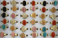 LOT DE 32 ACIER inoxydable pierre d'oeil de chat bague femmes Multicolore Rings