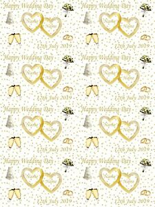 Personalised Wedding Day Gold Themed Gift Wrapping Paper ADD NAMES & DATE
