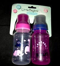 """New! Infant Girls 2 pk """"Little Beginners"""" Baby Bottles sz 11 oz Nip"""