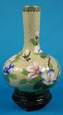 """Vintage Cloisonne floral 11"""" Vase with Wood Base"""