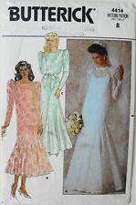 Butterick 4414 Misses Formal Bridal Dresses Slip Veil Sewing Pattern Sz 8 FF