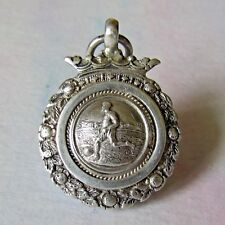 VINTAGE SILVER HALLMARKED THOMAS FATTORINI FOOTBALL MEDAL / WATCH FOB.