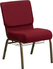 LOT OF 100 21'' EXTRA WIDE BURGUNDY FABRIC CHURCH CHAIR COMMUNION CUP BOOK RACK
