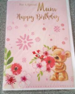 HAPPY BIRTHDAY CARD*FOR A SPECIAL MUM*TEDDY & FLOWERS DESIGN*FEMALE*GREETING