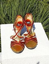 D&G Dolce & Gabbana Womens Shoes Heels Red & Gold Leather Made in Italy 37.5 US7