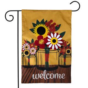 "Fall Mason Jar Applique Garden Flag Welcome Floral 12.5"" x 18"" Briarwood Lane"