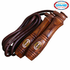 Farabi Skipping Jumping Rope Genuine Leather Wooden Handle 9ft Long Adjustable
