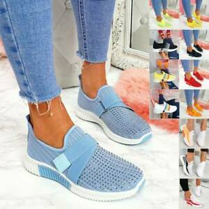 Womens Comfy Casual Lace Up Slip On Trainers Pumps Flats Walking Sneakers Shoes