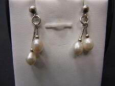 925er Silber Paar  Ohrstecker mit Perlen Lang 2,7 cm gewicht 2,20 gramm