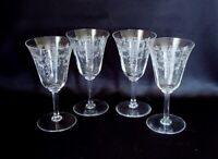 Vintage Etched Elegant Glass Water Goblets Floral with Ribbon Bow Set of 4
