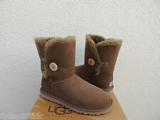 UGG Trocken Leaf Bailey Button Wildleder/Lammfell Stiefel, Damen US 11/EUR 42 ~ NIB