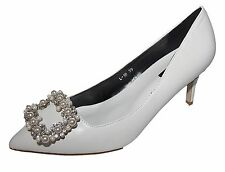 Zapatos de Novia Noche Tacón en Cuero Óptica Con Piedrecita Perlas Schanlle L-10