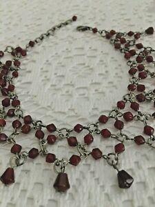 Vintage  Belly Dance Silver toned Anklet Bracelet Glass Garnet Color Stones