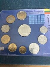 Lithuania All Coins ���� Set Pre-euro 2004 KMS NEW BUNC accession Year +medal
