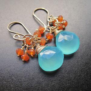 Sea Blue Chalcedony, Carnelian Wire Wrapped Gemstones Earrings