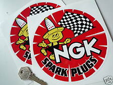 NGK round Red 6 inch Spark Plug Man style stickers