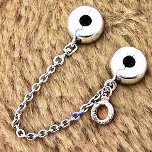 Authentic 925 Sterling Silver Dangling Crown O Safety Chain Charm Signature