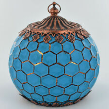 BEAUTIFUL MOROCCAN STYLE BLUE GLASS LANTERN WITH LED GEOMETRIC CANDLE LIGHTING