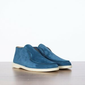 LORO PIANA 995$ NEW Open Walk Ankle Boots In Cobalt Ink Blue Suede Calf Skin