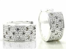 Genuine sterling silver hoop big gem earrings with thick silver design gift box
