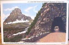 MT Postcard EAST SIDE TUNNEL Glacier National Park Mt Clements Logan Pass 1957