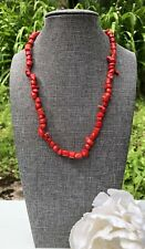 Vintage Red Coral Branch Sterling Silver 925 Collar Necklace