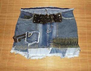 mini jupe LOIS en jean et patchwork en cuir Taille 36 FR