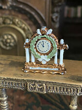 Vintage Miniature Dollhouse ARTISAN Metal Hand Painted French Mantle Clock Green