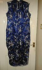Womens Sleeveless Maxi Dress - Laogudai - Chinese China - Blue + Silver Flowers