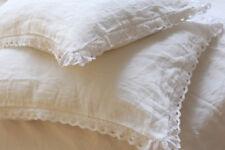A PAIR! 2 pcs Shabby pre washed flax Linen pillow case sham crochet lace white