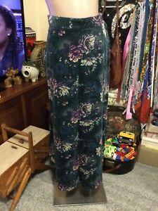 Genuine Vintage Hippie Boho A Line Maxi Skirt Green Velveteen Florals Size 12