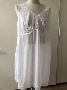 Nylon Unterrock, Unterkleid, Negligee, weiß, Spitze, Gr. 52, Vintage