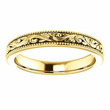 SIZE 8 - 14k Yellow Gold Design Engraved Wedding Band 3.5mm Wide Scroll Ring