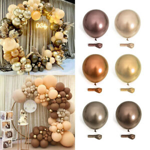 102x Coffee Brown Gold Balloons Arch Kit Garland Baby Shower Wedding Party Decor
