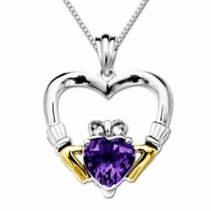 Amethyst & Natural Diamond Accent Claddagh Heart Pendant 925 Silver & 14K Gold