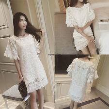 Korean Fashion Womens Crochet Hollow Tassels Party Summer Slim Short Mini Dress