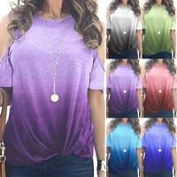 Womens Gradient Cold Shoulder T Shirt Ladies Summer Loose Tunic Blouse Tops Tee