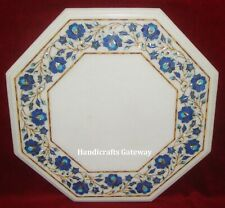 Stone Inlay White Marble Coffee Table Top, Decorative Marble Coffee Table Top