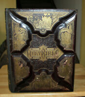 1888 Antique HUGE leather family Holy Bible COMPLETELY REBOUND