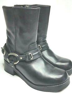 Women's Harley Davidson Christa Black Leather Side Zip-up Boots D85298 Size 9.5M
