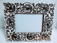 Handmade In India Carved Wooden Photo Picture Frame 5x7 Whitewash Freestanding