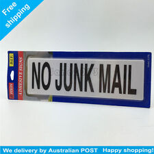 Plastic NO JUNK MAIL Sign Adhesive Signs Stick on Sign  20cm x 6.5cm